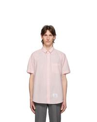 Thom Browne Pink Seersucker Short Sleeve Shirt