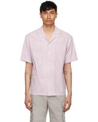 Z Zegna Pink White Usetheexisting Striped Short Sleeve Shirt