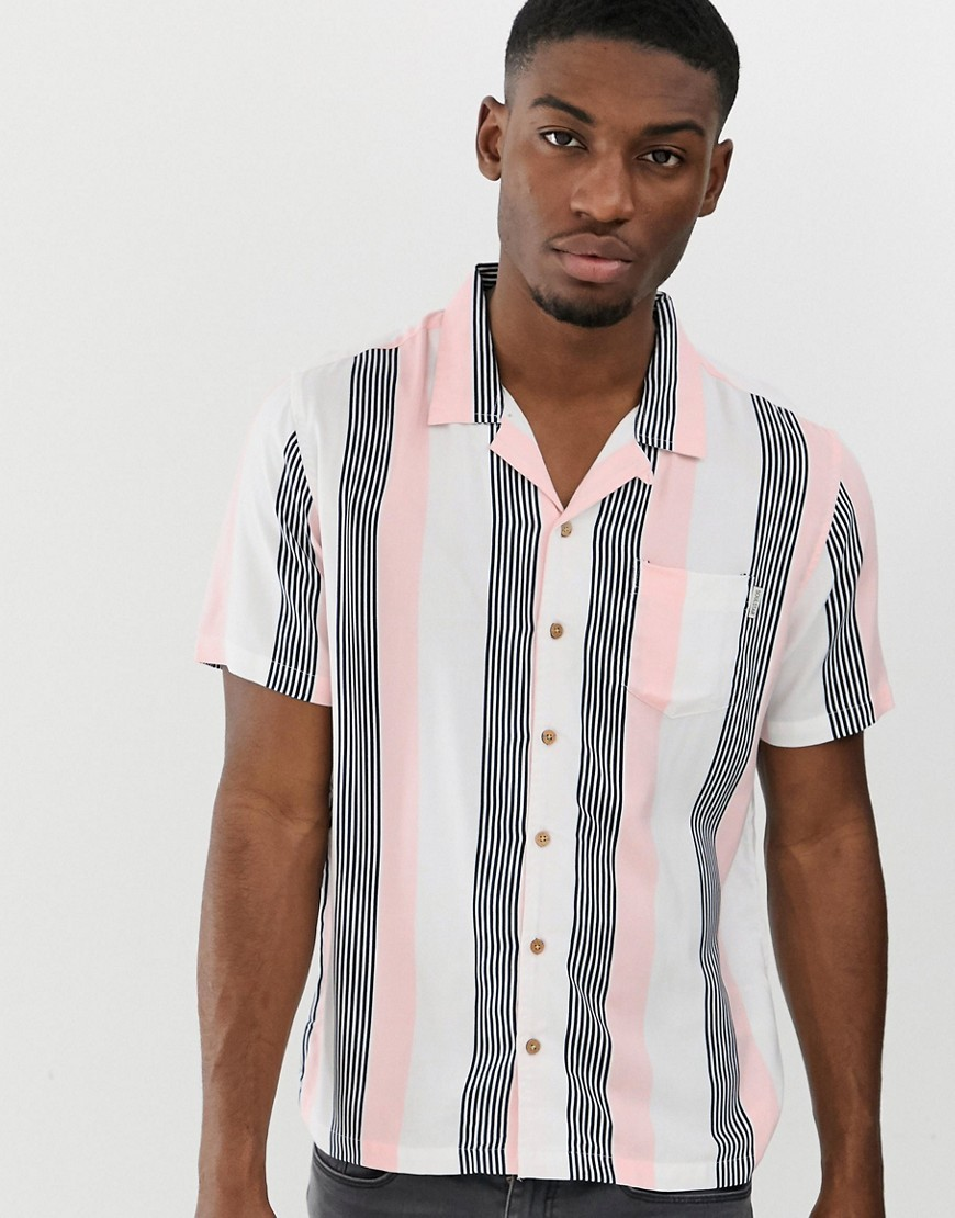 cc33ed3622a1aa ... Vertical Striped Short Sleeve Shirts Soul Star Short Sleeve Bowler Stripe  Revere Shirt
