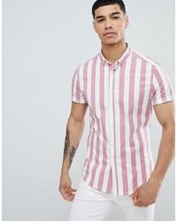 ASOS DESIGN Skinny Stripe Shirt In Pink