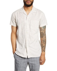 Selected Homme Stein Slim Fit Stripe Short Sleeve Button Up Camp Shirt