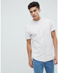 ASOS DESIGN Stretch Slim Oxford Stripe Shirt In Pinkwhite