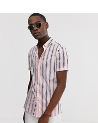 ASOS DESIGN Tall Skinny Fit Shirt In Pink And Navy Stripe