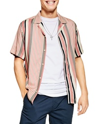 Topman Trim Fit Stripe Short Sleeve Button Up Camp Shirt