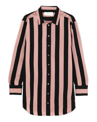 MARQUES ALMEIDA Embellished Striped Satin Twill Shirt
