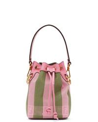 Fendi Pink And Green Raffia Mini Mon Tresor Bag