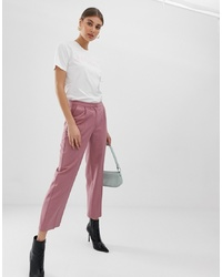 Pink Vertical Striped Tapered Pants
