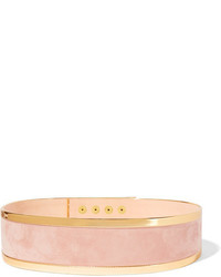 Balmain Metallic Leather Trimmed Suede Waist Belt Pastel Pink