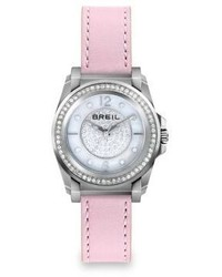 Breil Milano Breil Manta Crystal Mother Of Pearl Stainless Steel Leather Strap Watch