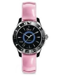 Christian Dior Dior Dior Viii Limited Edition Sapphire Black Ceramic Leather Automatic Watch