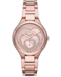MICHAEL Michael Kors Michl Michl Kors 36mm Lainey Round Glitz Bracelet Watch Rose Golden