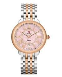 Michele Watches Serein 16 Diamond Pink Mother Of Pearl Two Tone Stainless Steel Bracelet Watch