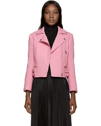 Pink crepe biker jacket medium 335795