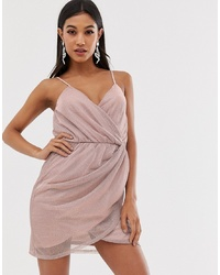ASOS DESIGN Metallic Mini Wrap Dress With Stud Detail