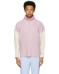 Homme Plissé Issey Miyake Purple Grey Block Half Zip Sweater