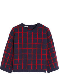 Plaid Crew-neck Sweater