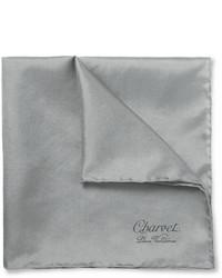Pochette de costume en soie gris