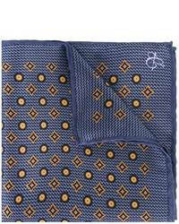 Pochette de costume en soie imprimée bleue marine Canali