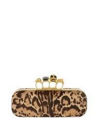 Pochette en daim imprimée léopard marron clair