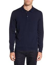 Polo de manga larga de lana azul marino