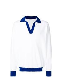 Polo de manga larga de rayas horizontales en blanco y azul de Tonello Cs