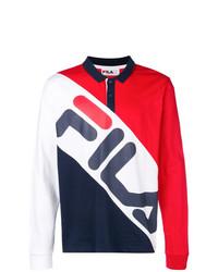 Polo de manga larga en blanco y rojo y azul marino de Fila