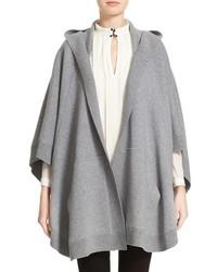 Poncho de lana de punto gris de Burberry