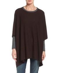 Poncho de lana en marrón oscuro de Eileen Fisher