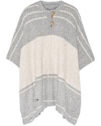 Poncho de rayas horizontales gris de Raquel Allegra