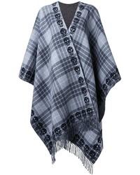 Poncho en laine écossais gris foncé Alexander McQueen