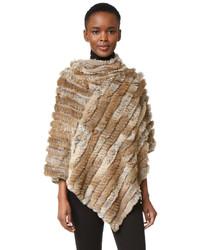 Poncho en tricot brun clair Adrienne Landau