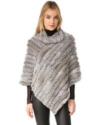 Poncho en tricot gris Adrienne Landau