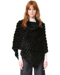 Poncho en tricot noir Adrienne Landau