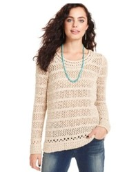 Pull à col rond à rayures horizontales beige