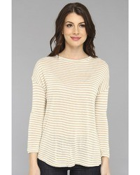 Pull à col rond à rayures horizontales beige Soft Joie