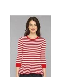 Pull à col rond à rayures horizontales rouge et blanc Autumn Cashmere