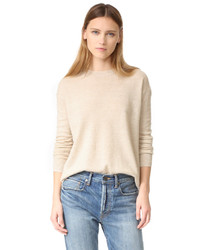 Pull à col rond beige Vince