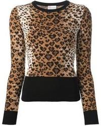 Pull à col rond imprimé léopard marron clair RED Valentino