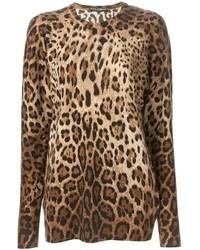 Pull à col rond imprimé léopard marron Dolce & Gabbana