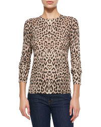 Pull à col rond imprimé léopard marron Equipment