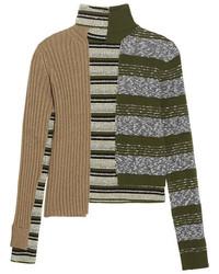Pull à col roulé en laine à rayures horizontales olive Maison Margiela
