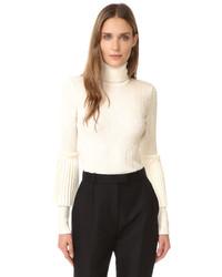Pull à col roulé en laine en tricot blanc Salvatore Ferragamo