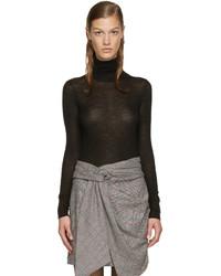 Pull à col roulé en laine noir Isabel Marant