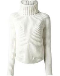 Pull à col roulé en tricot blanc Alexander McQueen