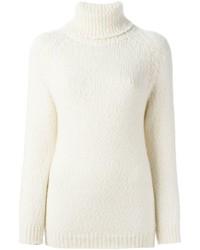 Pull à col roulé en tricot blanc Maison Margiela