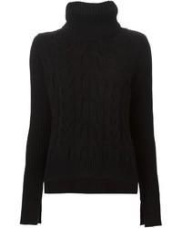 Pull à col roulé en tricot noir Alexander McQueen