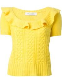 Pull à manches courtes jaune Valentino