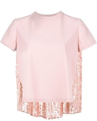 Pull à manches courtes rose Valentino