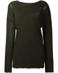 Pull en laine en tricot olive Helmut Lang