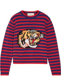 Pull en laine imprimé rouge Gucci
